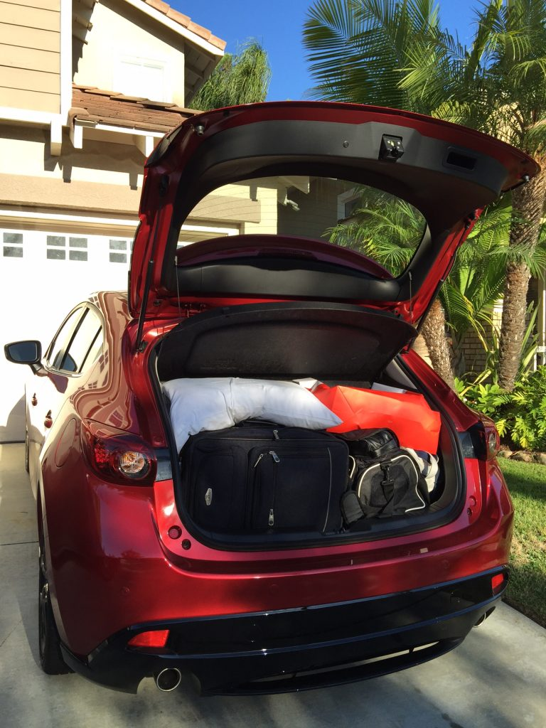 Packing for a trip with the Mazda3