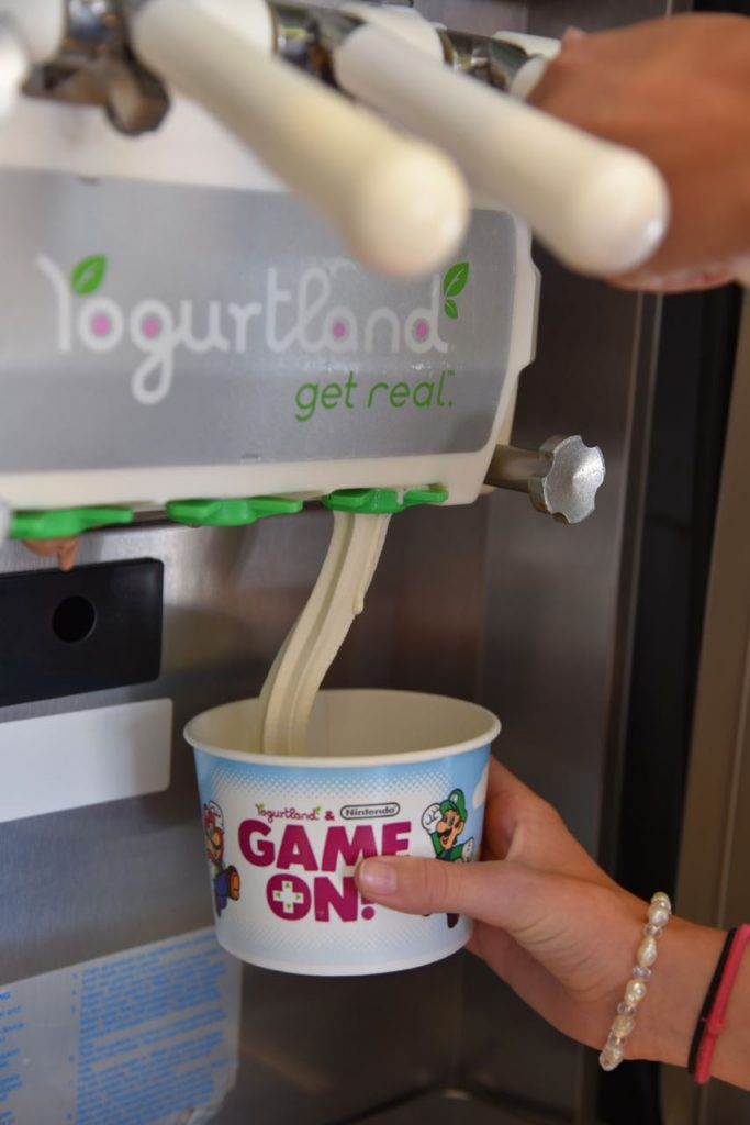 Pouring frozen yogurt