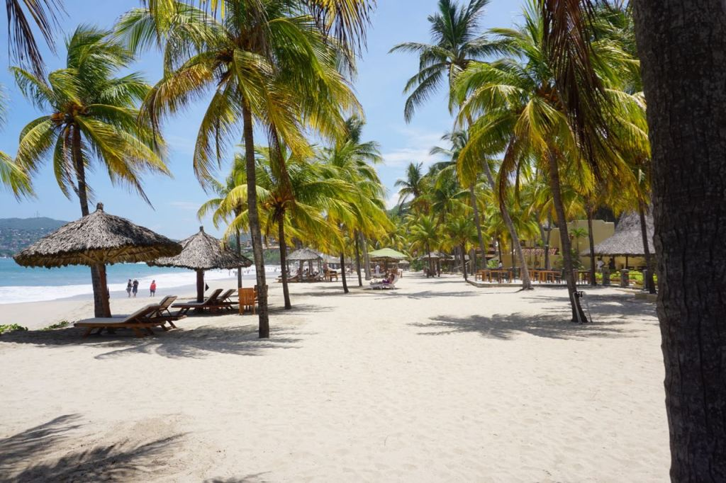 Relaxing beach area at Viceroy Zihuatanejo