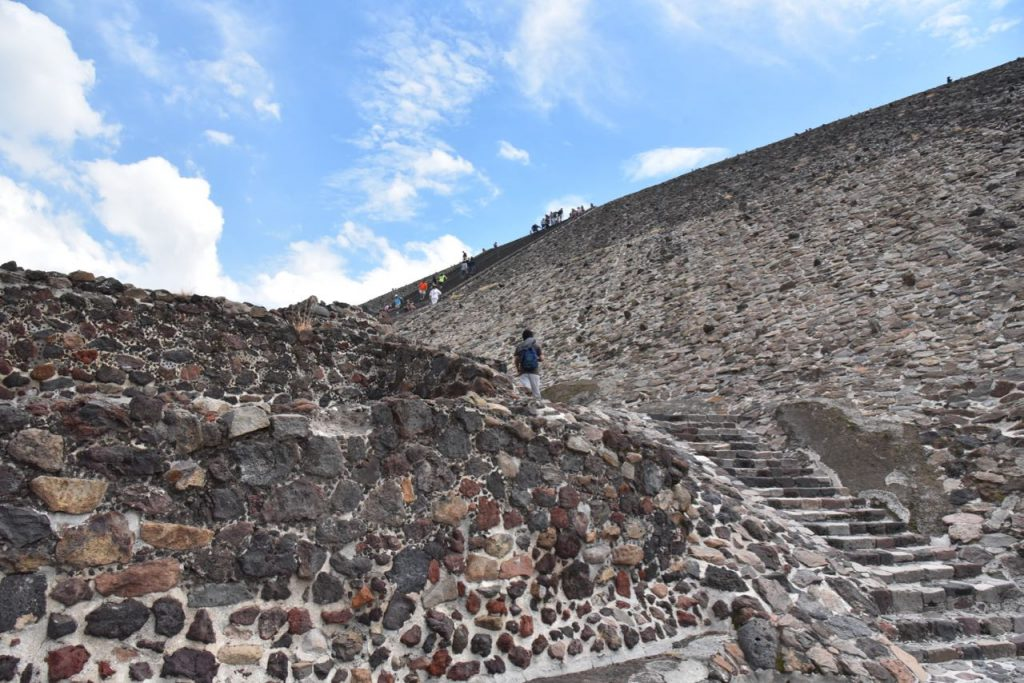 Looking up at the Pyramid of the Sun