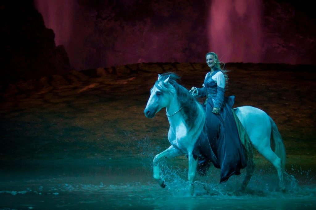 Horse dancing on water in Odysseo by Cavalia