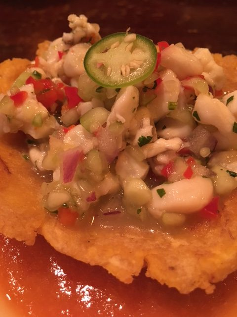 Appetizer of Mariscos in Enchilada Sauce at Habana in Costa Mesa