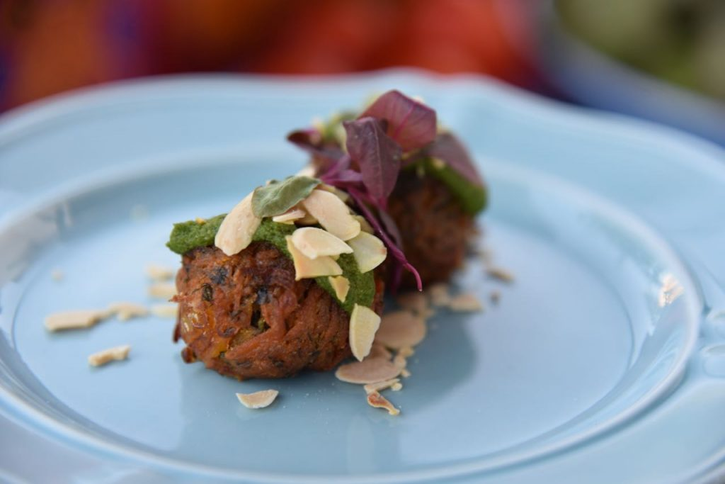 Carrot & Chickpea Fritters with coriander-almond sauce