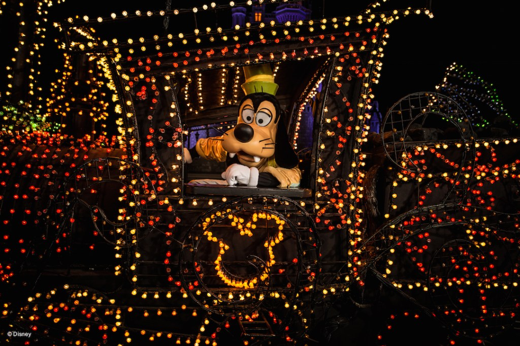 Goofy in the Main Street Electrical Parade at the Disneyland Resort