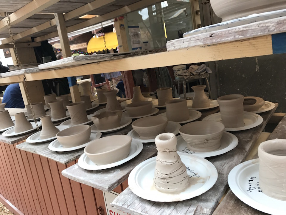 Pottery made by kids at the Sawdust Festival