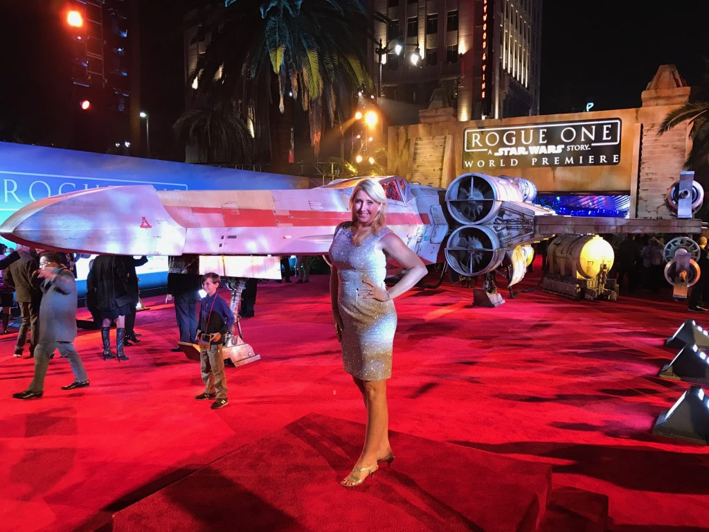 Rogue one a Star Wars Story Starfighter at the premiere