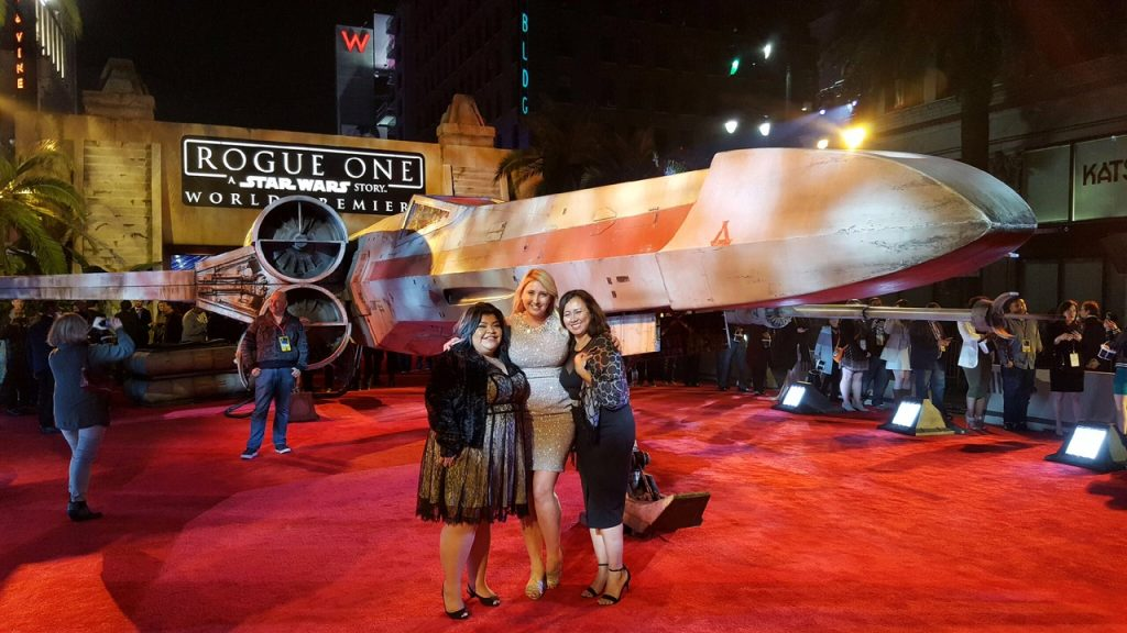 Shelby Tee and Yolanda a the rogue one a star wars story premiere