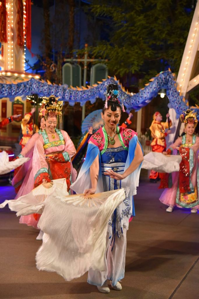 Fan dancers at Lunar New Year Disney Celebration