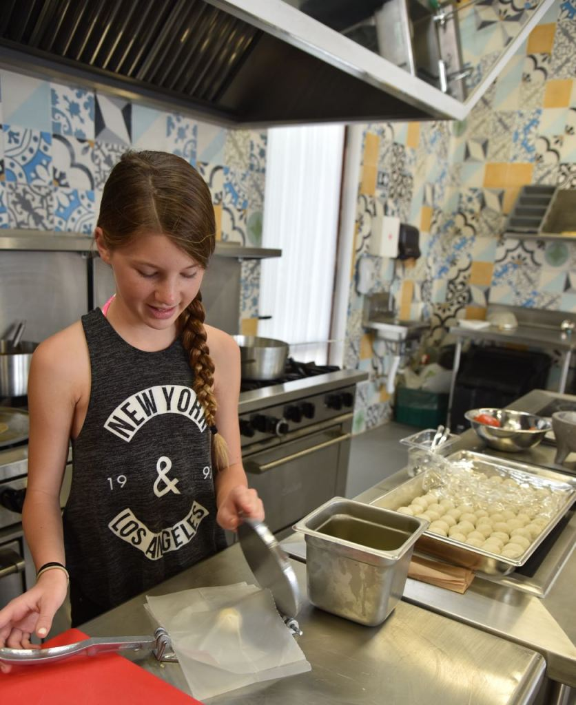 Kid's cooking class at El Pueblito in Mayakoba