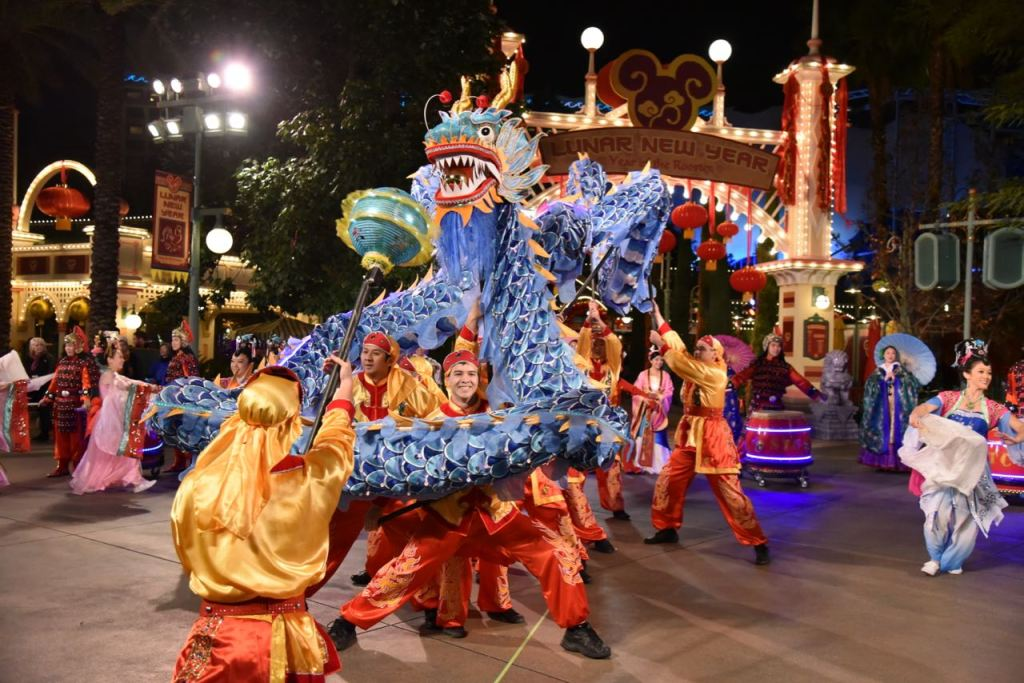 Magical dragon dance at Lunar New Year at Disney California Adventure Park