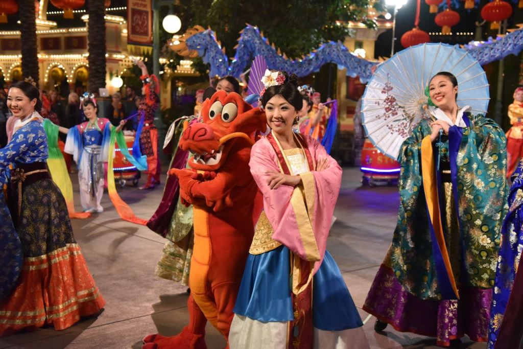 Mulan and Mushu at Disney's Lunar New Year Celebration