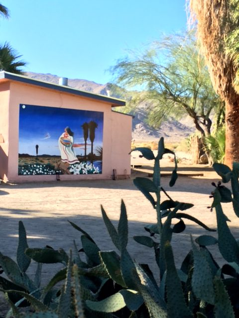 Mural on an adobe at 29 Palms Inn