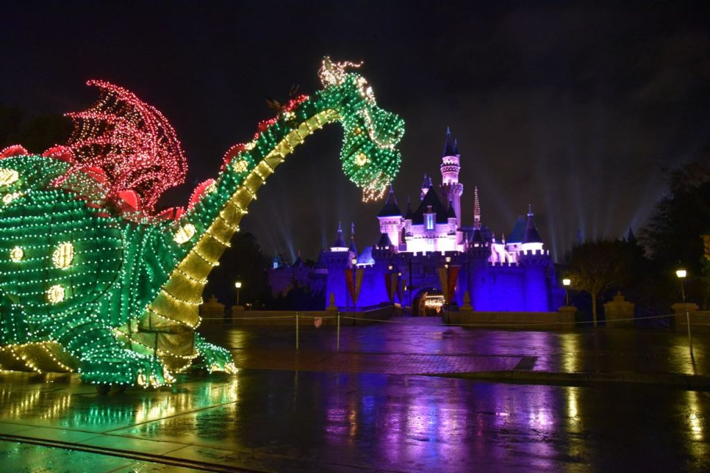 Pete's Dragon in front of the castle at Disneyland