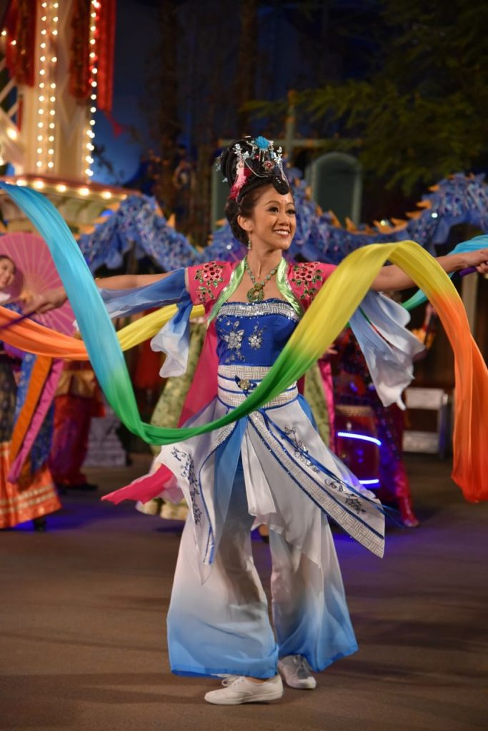Ribbon dancers at Mulan's Lunar New Year Procession