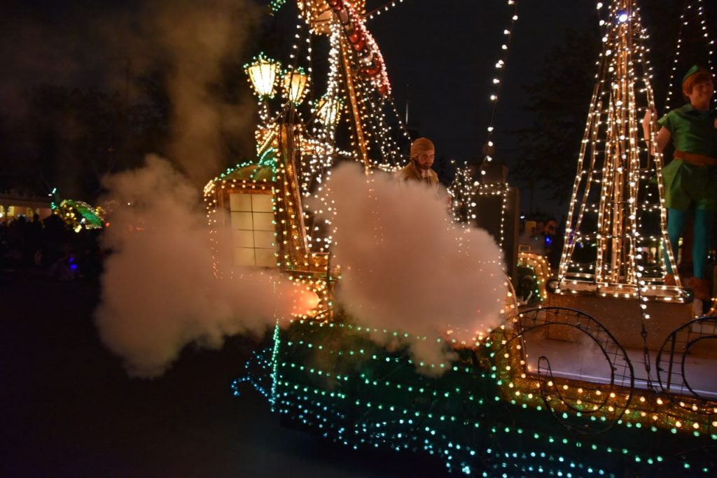 Smoke from the pirate ship in the Main Street Electrical Parade