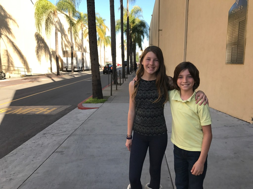 Tyler and Ella Barone at the Warner Bros Studio Lot