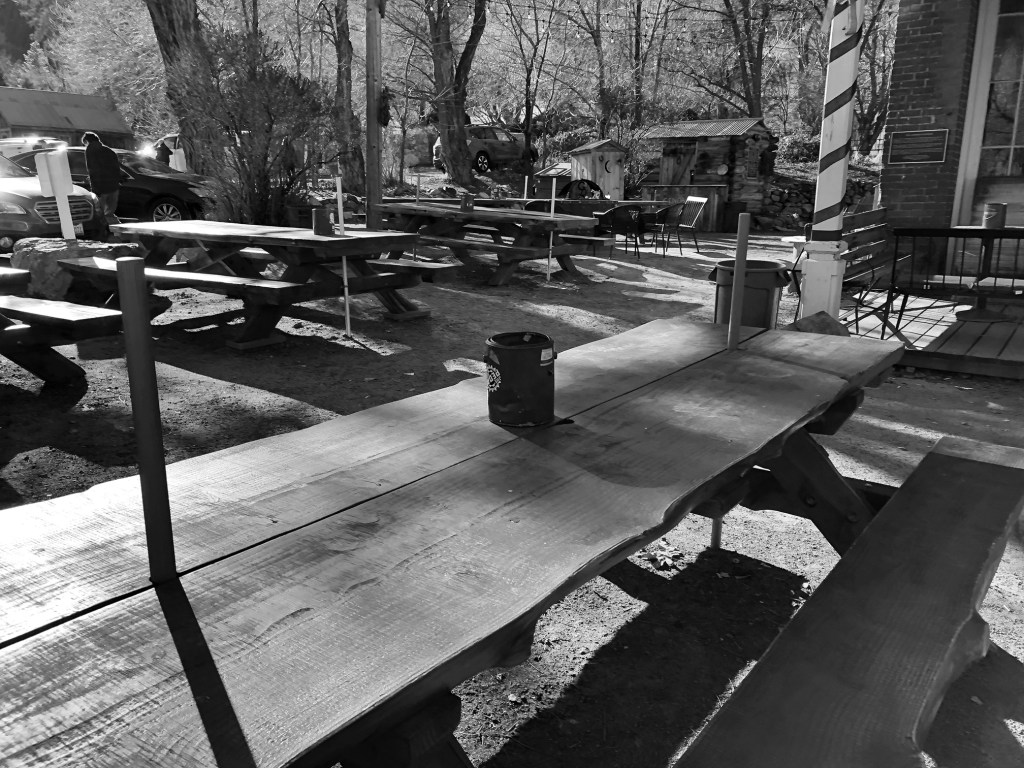 Outdoor seating at the Genoa Bar and Saloon in Nevada