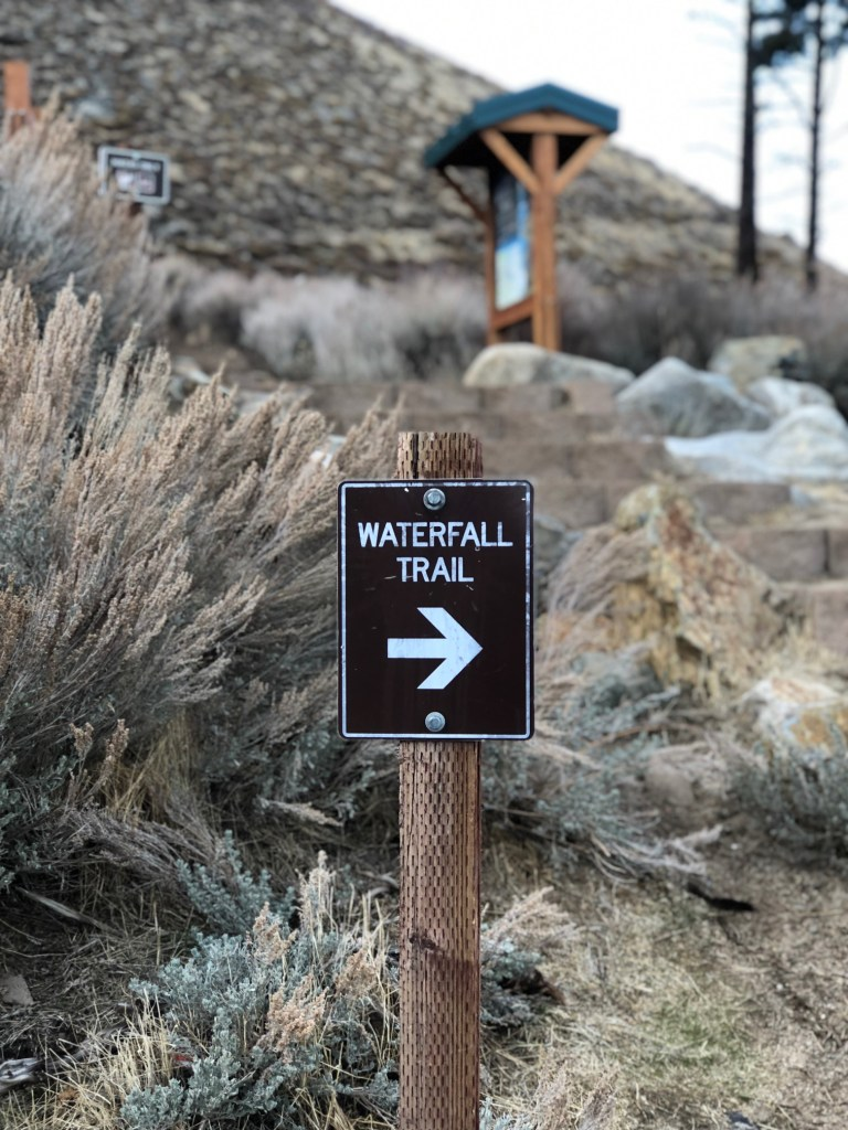 Trail signage for Kings Canyon Waterfall in Carson Valley Nevada
