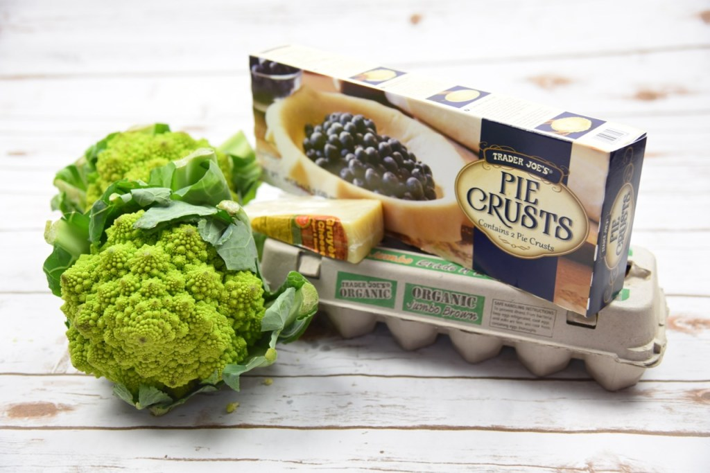 Ingredients for Romanesco and bacon quiche recipe