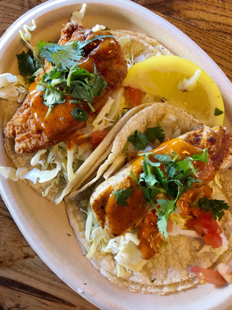 Fish tacos from the San Pedro Fish Market Grille