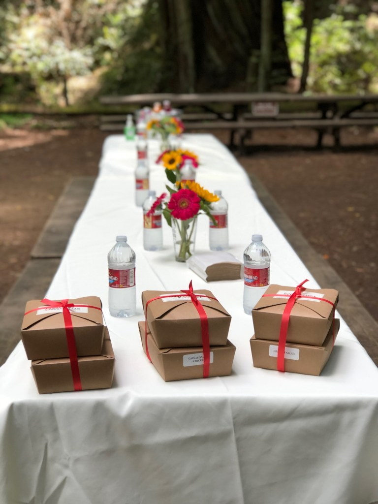 Picnic lunch in the Armstrong Redwoods State Natural Reserve