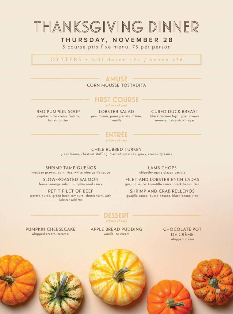 Las Brisas Thanksgiving Menu