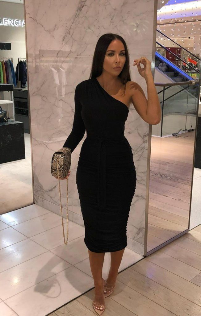 Black One Shoulder Ruched Slinky Midi Dress