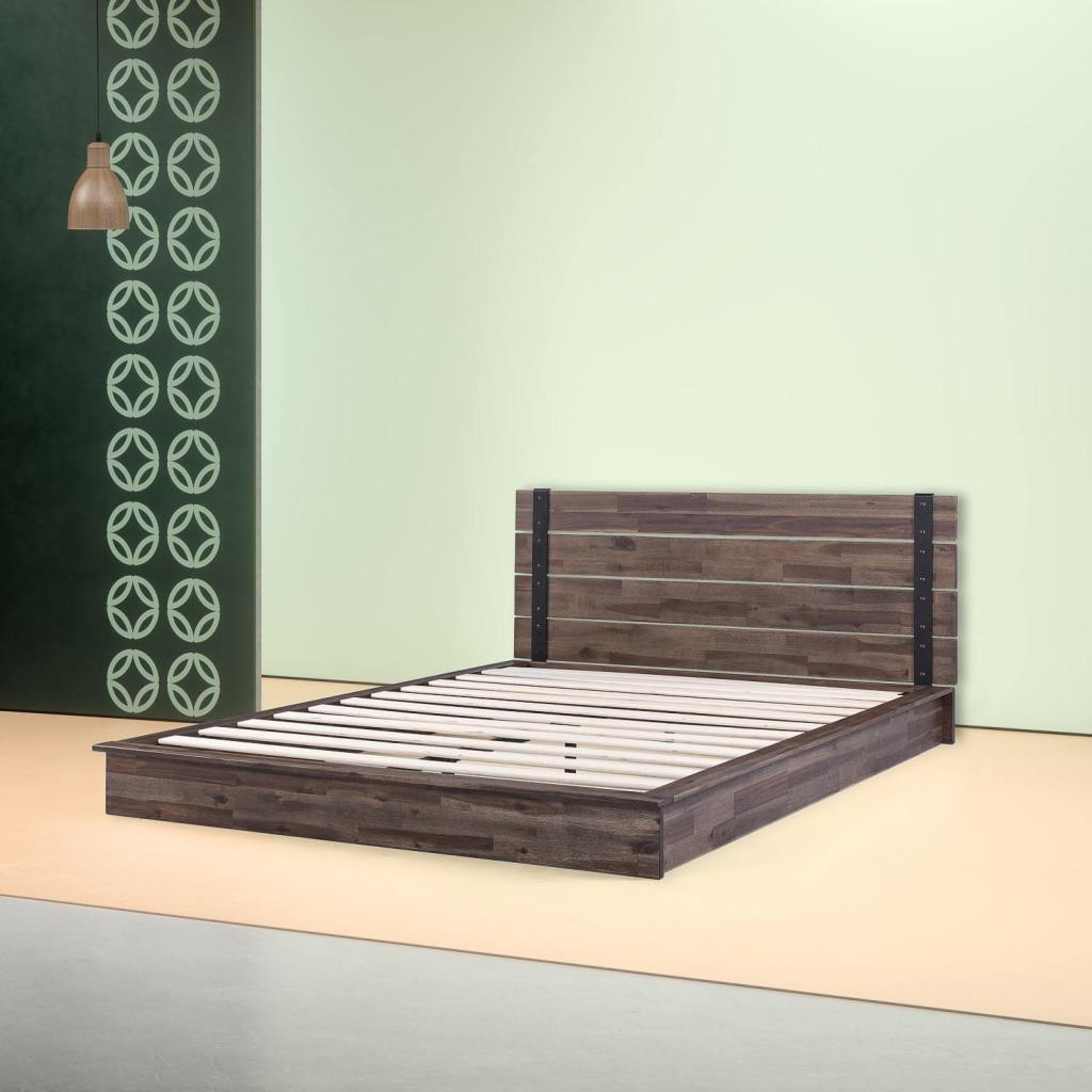 Brock Metal and Wood Platform Bed Frame