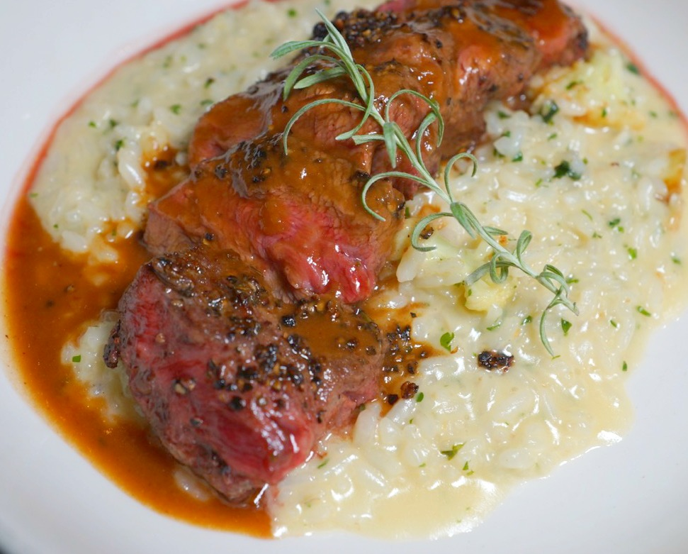 Peppered Steak with cauliflower risotto