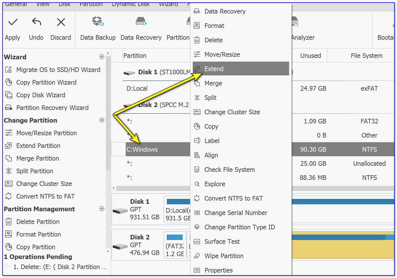 Extindeți - Extindeți discul de la OS