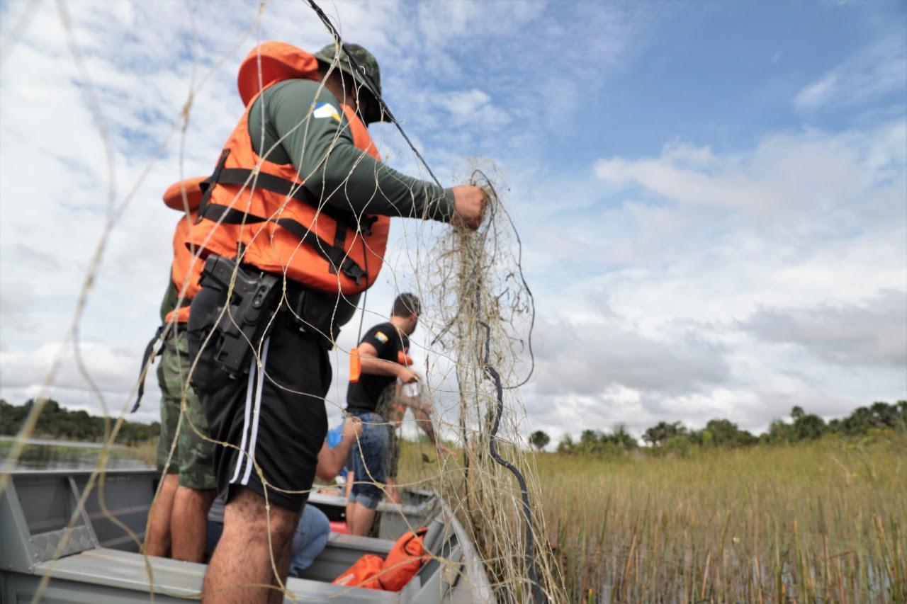 Mais de 500 metros de rede de pesca são apreendidos no Lago Azul e Rio Lontra durante piracema em Araguaína