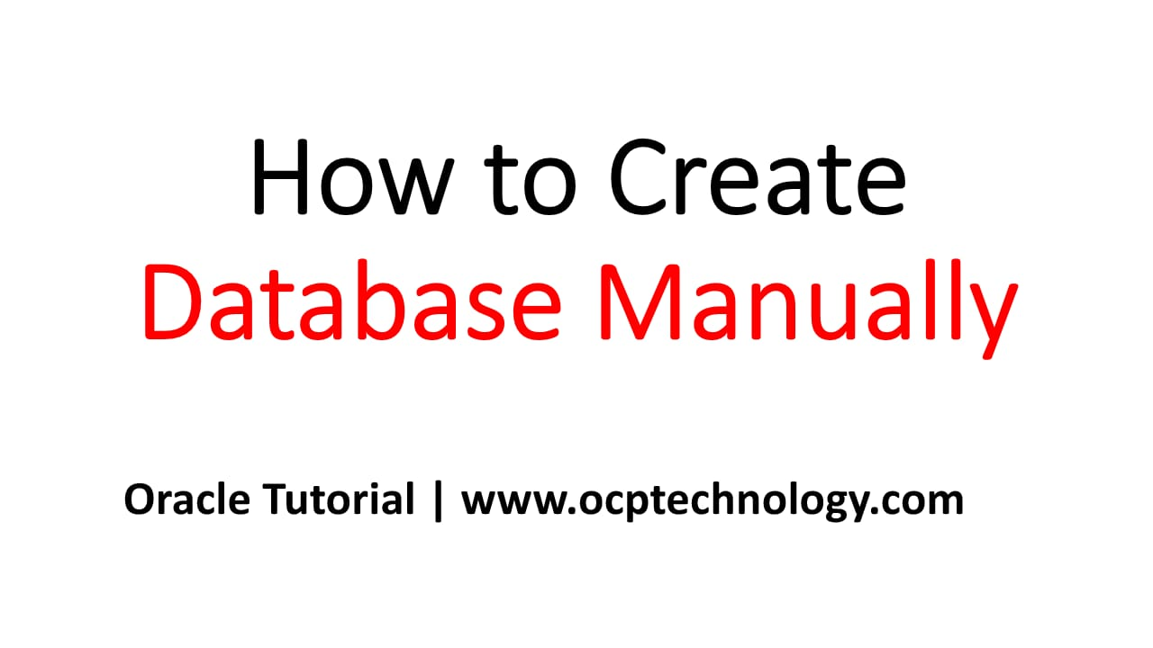 How to create manually Database