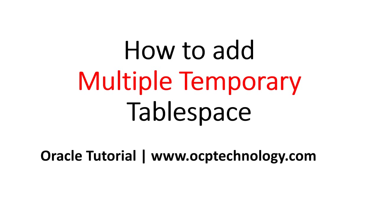 In Oracle Database we can add multiple temporary tablespace using tablespace groups, tablespace groups allowed to use multiple temporary tablespace to store temporary segments. The temporary tablespace group is created automatically when you add first tablespace is assigned a group.