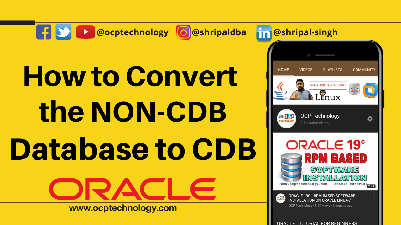 How to Convert the NON-CDB database to CDB