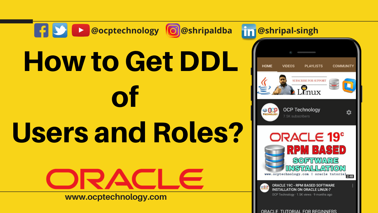 How to get DDL of users and roles
