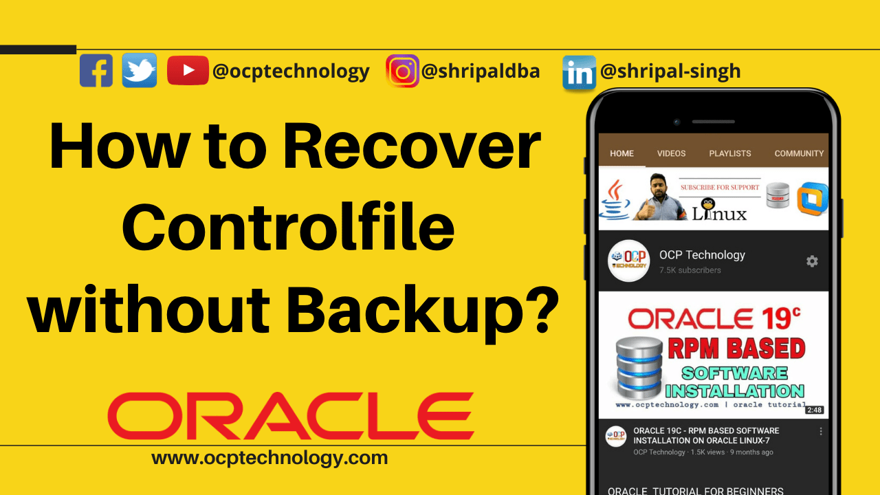 recover controlfile without backup