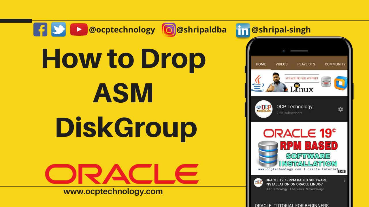 drop asm disk group