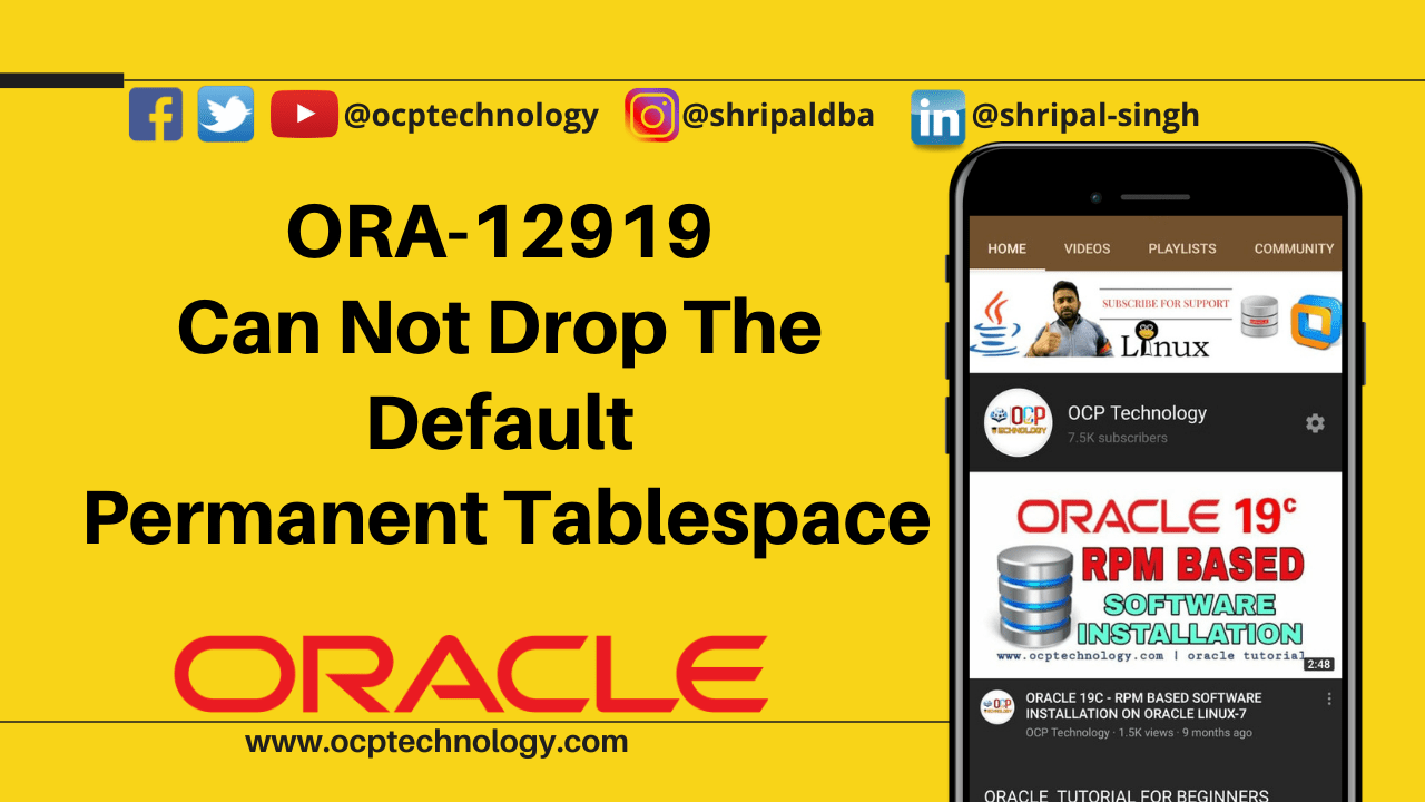 ORA-12919 Can not drop the default permanent tablespace