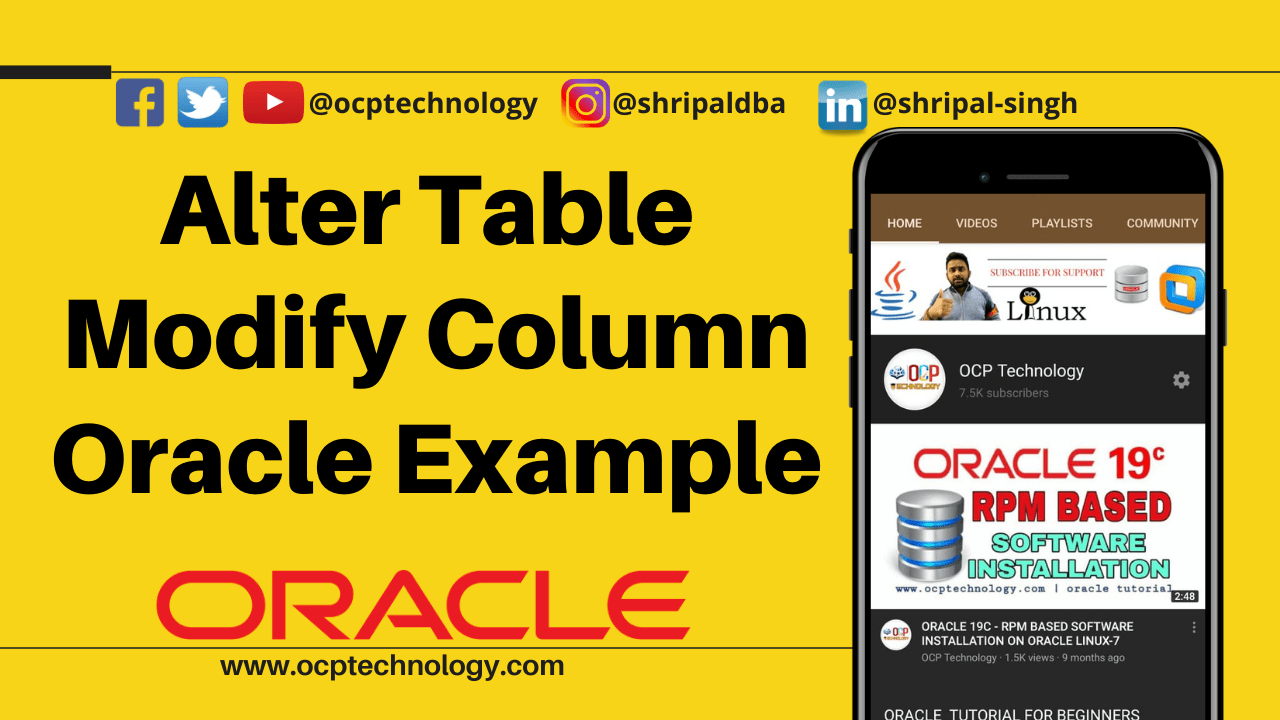 alter table modify column oracle example