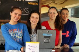 Katie O'Neal, Samantha Styron,, Abigail Morris and Lucy O'Neal helping with school fundraiser at Jason's Restaurant.