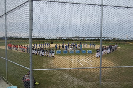 All the Ocracoke teams and visiting teams on Saturday line up for the dedication.