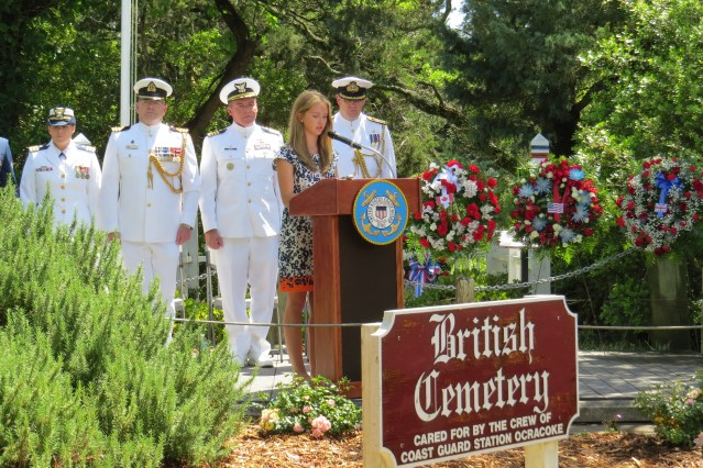 Ocracoke School senior Katy O'Neal reads the roll call of sailors lost May 11, 1942, when the British trawler HMT Bedfordshire was torpedoed off the coast.