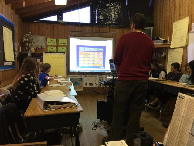 Jeff Reaser, a professor at NC State, leads Ocracoke eighth-grade students in a game of 'Dialect Jeopardy' that he designed. Photo courtesy of Walt Wolfram