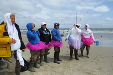 The Sand Bunnies, from Elizabeth City and Manteo, wanted to liven up the fishing action this year. From left are Noel Payne, team captain, Melinda Hoffman, Traci Halterman, lelia Tabor, Andi Tolley and Dorinda Franklin.