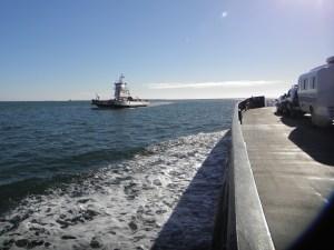 Ferries cross in Hatteras Inlet.