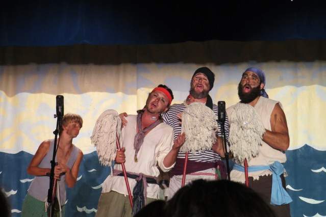"Sailors John Brodisch, Nathan Modlin, Bill Cole and Peyton Piquard pine for an ""Ocracoke Cutie"" in A Tale of Blackbeard 2015"