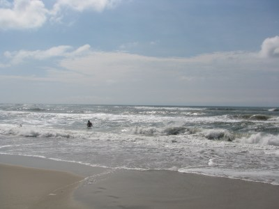 Choppy waters may contribute to people not going into the water two days after a  shark attack. Photo by P. Vankevich