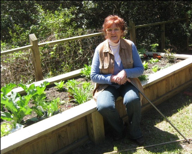 Gisela Zastrow in her Ocracoke garden. Photo courtesy of Katja Zastrow.