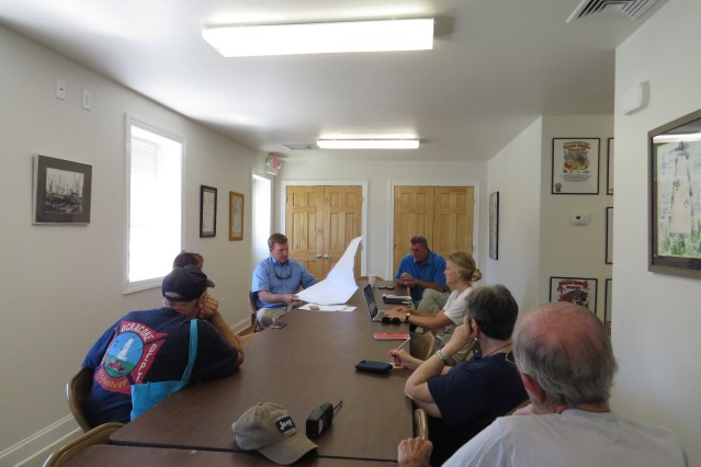 Islanders meet with NC Ferry Division officials in the Ocracoke Volunteer Fire Department. Photo by C. Leinbach
