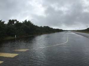 Highway 12 is partly under water near Lifeguard Beach. Photo by C. Leinbach